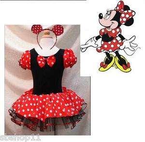 NWT Disney Minnie Mouse Costume Dress Dance Leotard 1 6