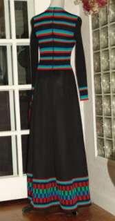 Darling VTG Joseph Magnin Stretch Rib Knit Color Block Maxi Dress MINT