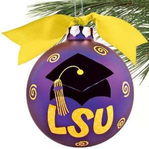 LSU Tigers Purple Graduation Cap Christmas Ornament
