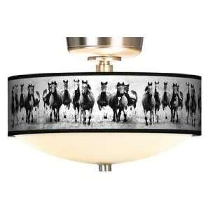 Wild Horses Giclee Energy Saver Brushed Steel Fan Light Kit