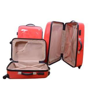 Luggage Bag Set Travel Case Suitcase Upright Rolling Wheel Red 3pcs 28