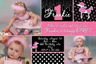 PINK POODLE PARIS OH LA LA Birthday Party Invitations