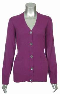 Sutton Studio Womens 100% Pure Cashmere Boyfriend Cardigan Plus Petite