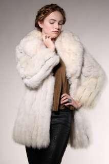 FOX FUR COAT Jacket Vtg 70s Arctic White Leather Mod Coyote Lamb Wolf