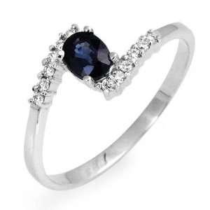 Solid 14k white gold, Diamond, Sapphire Ring Jewelry