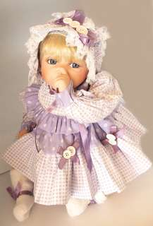 NEW HOLLY HUNT BUTTON & BOWS PORCELAIN BABY DOLL THUMB SUCKER #464