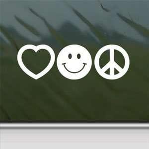 Love Smile Peace White Sticker Car Vinyl Window Laptop White
