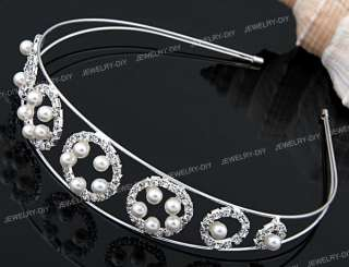 Silver Plated Rhinestone Faux Pearl Wedding Headband Tiara Hair Band