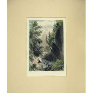 Hand Coloured View Baths St Gervais River Mountain: Home & Kitchen