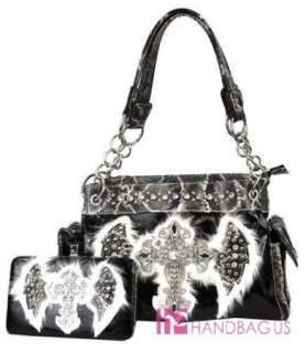 Feathered ANGEL WING Rhinestone CROSS Snakeskin Chained Tote Bag Purse