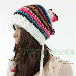 Cool Womens Stripe Winter Wool Cap Snow Warm Beanie Knitted Ball Hat