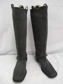 Bottega Veneta Distressed Black Suede Wood Heel Moto Boots 37