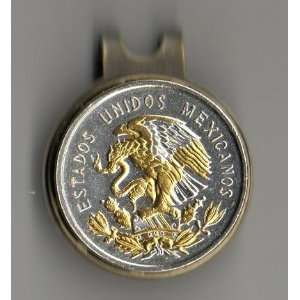 Ball Marker   Mexican 10 centavo Gold & silver Eagle (quarter size
