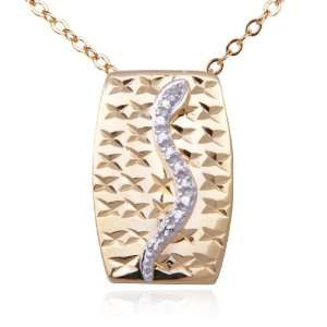 18k Yellow Gold Plated Sterling Silver Diamond Accent Snake Pendant