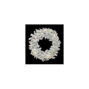 LED Flocked White Spruce Christmas Wreath   Warm Clea