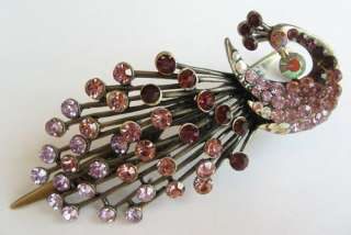 VARY COLORS SWAROVSKI CRYSTAL BIG BRONZE PEACOCK HAIR BARRETTE CLIP