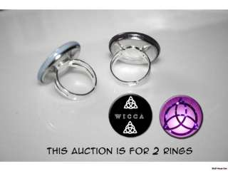 Triquetra Pagan Wiccan Celtic Symbol 2 adjustable rings