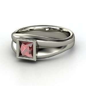Akari Ring, Princess Red Garnet Palladium Ring Jewelry