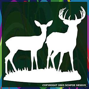 Big buck and Doe deer hunting decal bow hunter H212