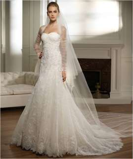 White Strapless Wedding*Bridal dress with Free Veil