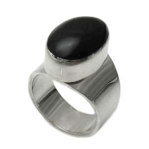 Sterling Silver Oval Black Onyx Ring A8421 SIZE 6
