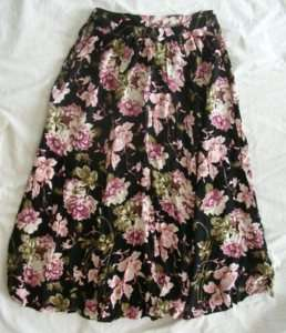 Jacque & Koko Long Skirt Size Black w/flowers 14/16