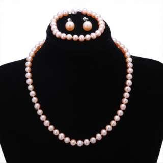 8mm Genuine Round AA Pearl Necklace Bracelet Earring