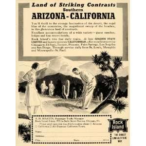 1940 Ad Rock Island Lines rain Arizona California Golf