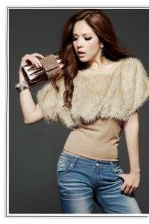 Lady Causal Bat Sleeve Slim Rib Waist Plush Tops Outwear T shirt 9793