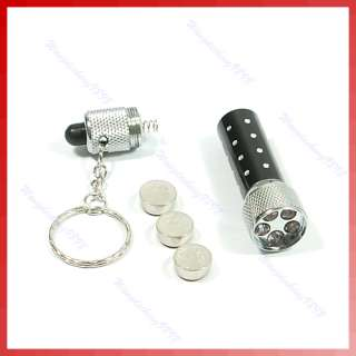 LED Mini Flashlight Torch Key Chain Key Ring Black