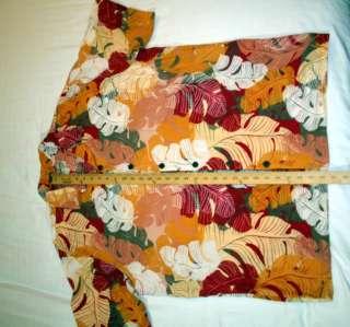 Hawaiian Shirt Extra Large 100% Rayon Pink/Red/Orange/White Fronds