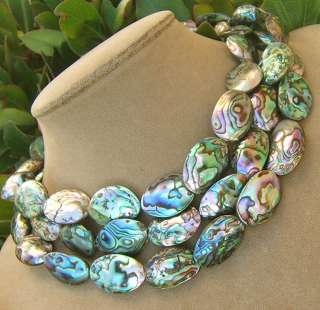 ABALONE PAUA NECKLACE PEARL RAINBOW BIG SEA OPALS WEDDING JEWELRY