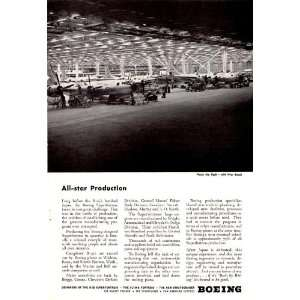 1945 WWII Ad Boeing All Star Production Factory Orginal