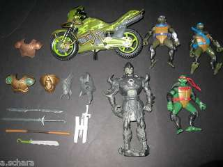 TEENAGE MUTANT NINJA TURTLES MOVIE FIGURES LOT OF WEAPONS MOTORCYCLE