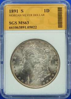 1891 S CHOICE UNCIRCULATED HIGH GRADE MORGAN SILVER DOLLAR