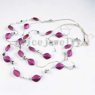Purple Acrylic 3 Rows Necklace 26 GN249