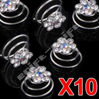 10 Spiral diamond twist Bridal Wedding Clips Hair Pin