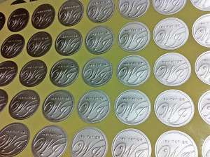 100 embossed silver wedding invitations seal (sticker)