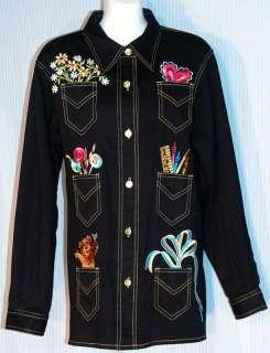 Bob Mackie Wearable Art Black w Lovely Embroidery Sz M