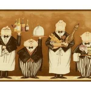 Whimsical Waiters Chef Kitchen Wallpaper Border Browns