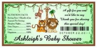 20 JUNGLE BABY SHOWER FAVORS WATER BOTTLE LABELS ~ Glossy ~ Waterproof