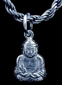 1873 Buddha Buddah Sterling Silver Pendant Charm Luck