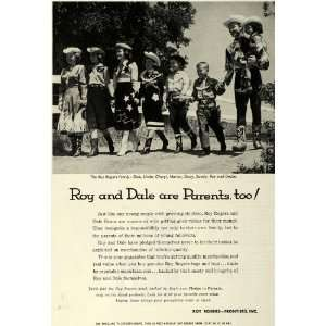 Ad Roy Rogers Frontiers Inc Family Toys Togs Cowboy Actor Dale Evans