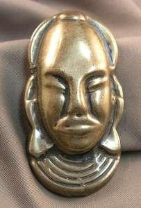 Vintage 1940s Sterling Silver African Mask Face Brooch