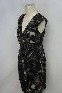 AGB Black/Brown/Tan/Gray Sleeveless V Neck Knee Length Dress Sz 10
