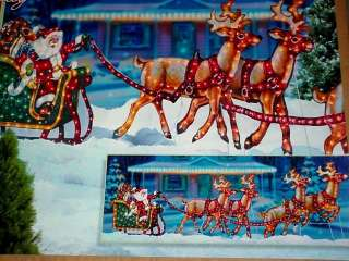 Lighted Holographic Santa Sleigh W4 deer   Option Local Pick up MA