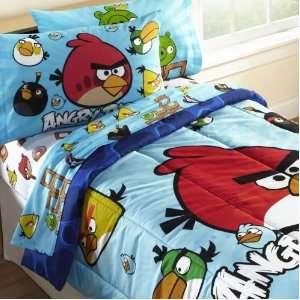 Angry Birds Twin Comforter Set WITH Twin Sheet Set:  Home