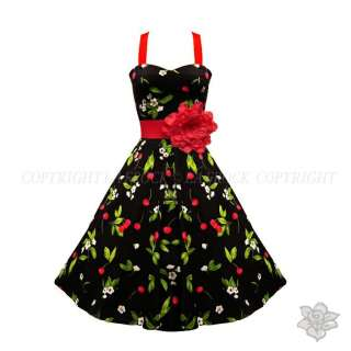 BLACK RED FLORAL PRINT VINTAGE WEDDING BRIDESMAID PROM JIVE SWING