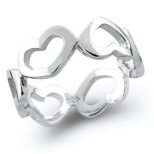 Jewelry Sterling Silver Open Heart Band Ring MORE SIZES   5 Jewelry