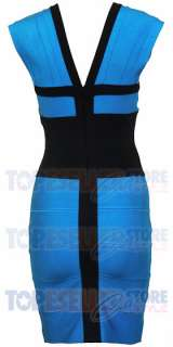 BEYONCE KNOWLES BLUE CAP SLEEVE BANDAGE DRESS XS S M L BODYCON